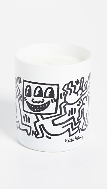 Ligne Blanche White with Black Drawing Candle