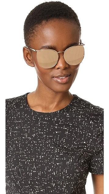 Linda Farrow Luxe Top Rim Round Sunglasses