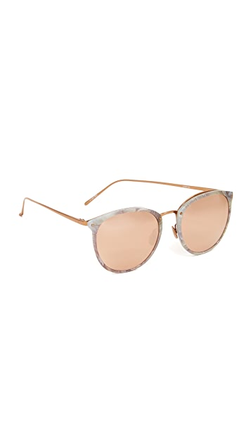 Linda Farrow Luxe Round Mirrored Sunglasses