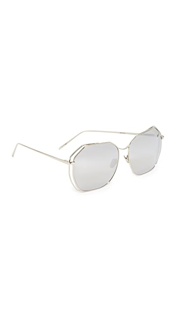 Linda Farrow Luxe Geometric Platinum Mirrored Sunglasses