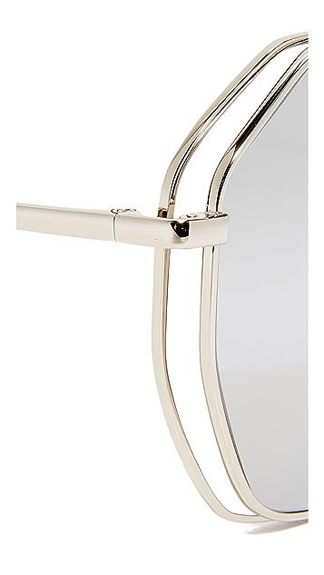 Linda Farrow Luxe Geometric Platinum Mirrored Sunglasses