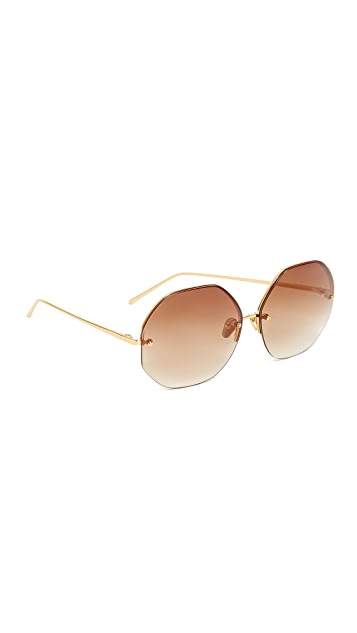 Linda Farrow Luxe 22k Gold Plate Geometric Sunglasses