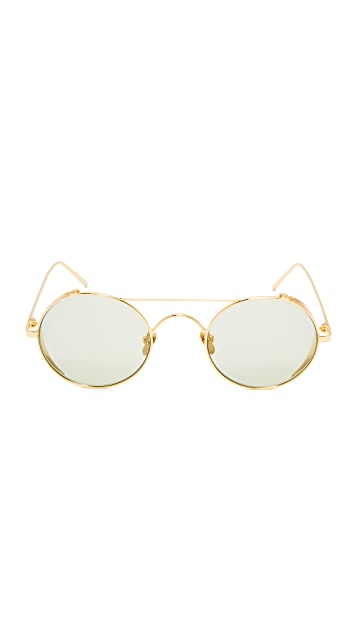 Linda Farrow Luxe 22k Gold Plate Round Brow Bar Sunglasses