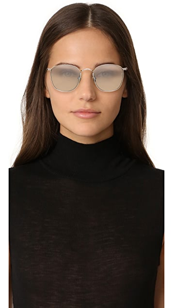 Linda Farrow Luxe 18k White Gold Plate Square Tinted Sunglasses