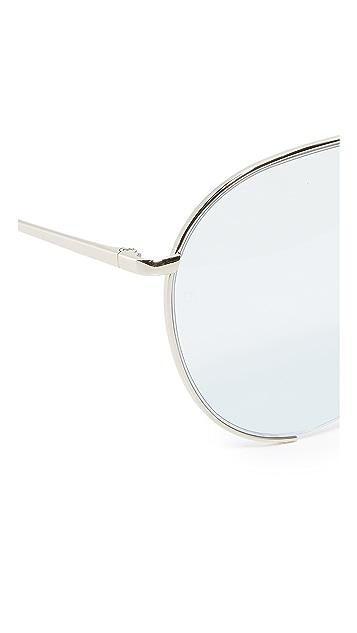 Linda Farrow Luxe 18k White Gold Plate Aviator Sunglasses