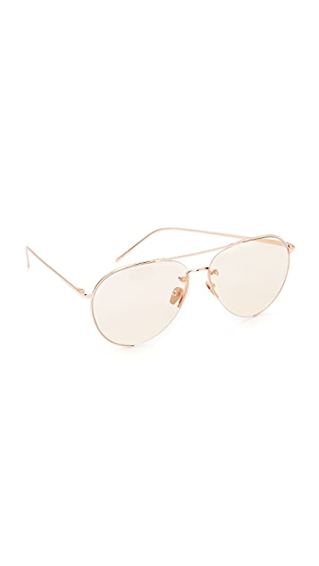 214deb675bc9 Linda Farrow Luxe 18k Rose Gold Plate Aviator Sunglasses