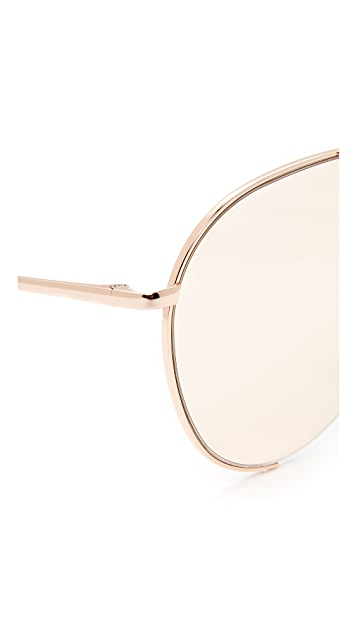 Linda Farrow Luxe 18k Rose Gold Plate Aviator Sunglasses