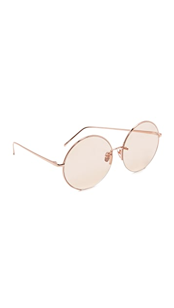 094388667f02 Linda Farrow Luxe 18k Rose Gold Plate Round Oversized Sunglasses ...