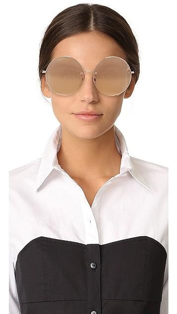 5ee0fa40ba91a ... Linda Farrow Luxe 18k Rose Gold Plate Round Oversized Sunglasses ...