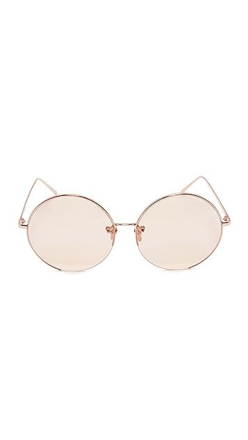7b59358f9ed ... Linda Farrow Luxe 18k Rose Gold Plate Round Oversized Sunglasses ...