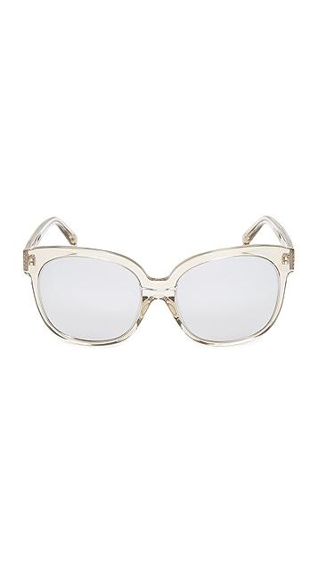 Linda Farrow Luxe Oversized Classic Platinum Lens Sunglasses