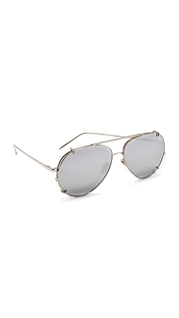 f2f0b225f6a0 Linda Farrow Luxe 18k White Gold Plate Aviator Clip On Sunglasses ...