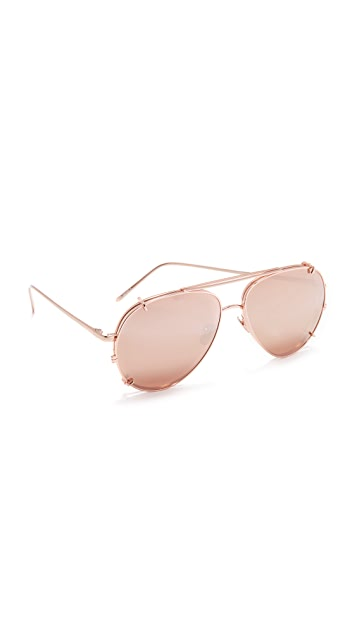 Linda Farrow Luxe Aviator Clip On Sunglasses - Rose Gold/Rose Gold