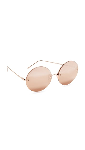 dfccbf788307 Linda Farrow Luxe Round Rose Gold Plated Sunglasses