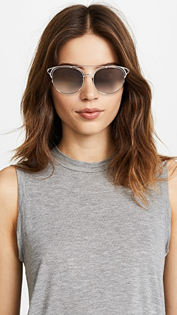 Linda Farrow Luxe Rounded Aviator Sunglasses