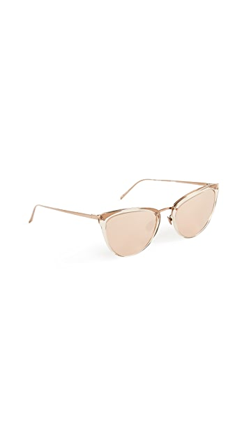 Linda Farrow Luxe Rose Gold Cat Eye Sunglasses