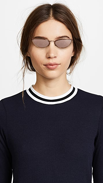 Linda Farrow Luxe Extreme Narrow Cat Eye Sunglasses