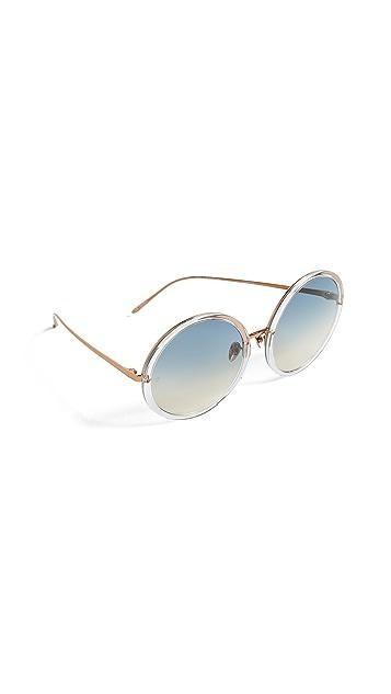 Linda Farrow Luxe Oversized Round Sunglasses