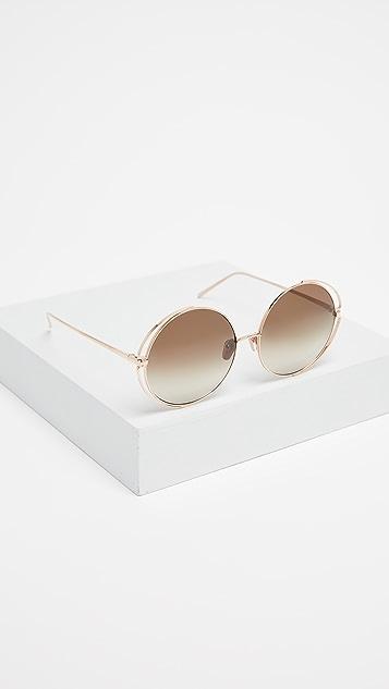 Linda Farrow Luxe Double Frame Round Sunglasses