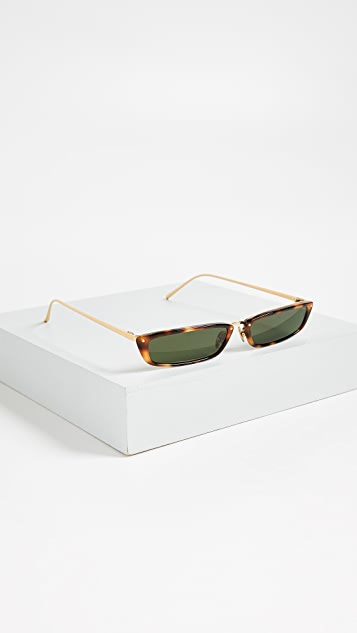 Linda Farrow Luxe Narrow Rectangular Sunglasses
