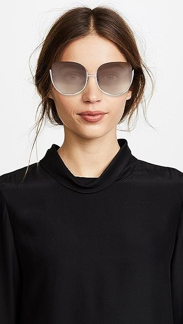 Linda Farrow Luxe Крупные солнцезащитные очки «кошачий глаз»