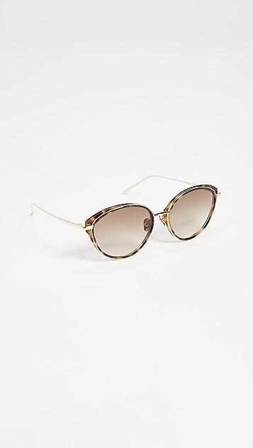 Linda Farrow Luxe Круглые солнцезащитные очки