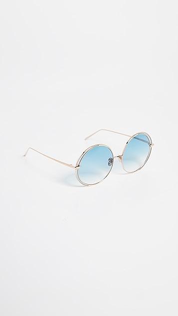 Linda Farrow Luxe Крупные солнцезащитные очки с круглыми стеклами