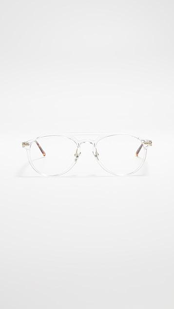 Linda Farrow Luxe Clear Acetate Aviator Glasses