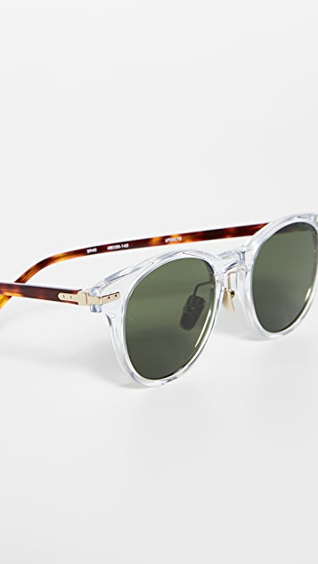 Linda Farrow Luxe Clear Acetate Small Wayfarer Sunglasses