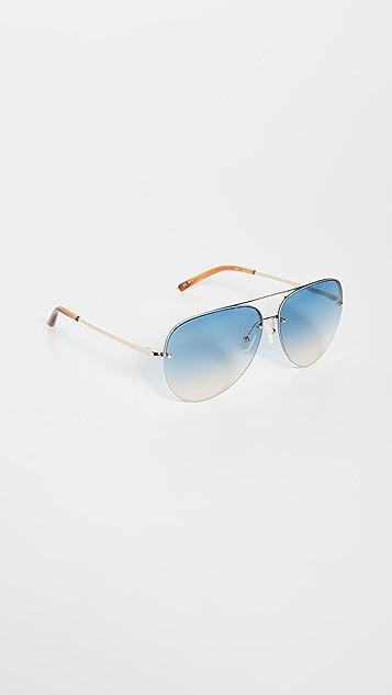 Linda Farrow Luxe Классические солнцезащитные очки-авиаторы Matthew Williamson x Linda Farrow