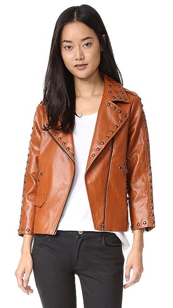 Line & Dot Stud Moto Jacket