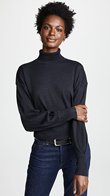 Line & Dot Carly Balloon Sleeve Turtleneck Sweater