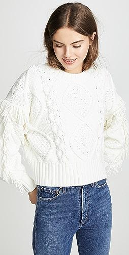Line & Dot - Jasper Fringe Cable Knit Sweater