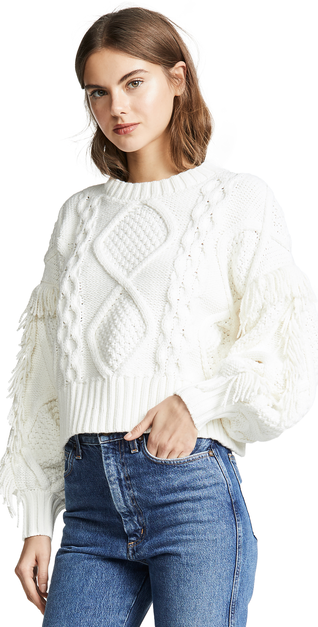 Jasper Fringe Cable Knit Sweater