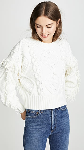 Line & Dot Jasper Fringe Cable Knit Sweater