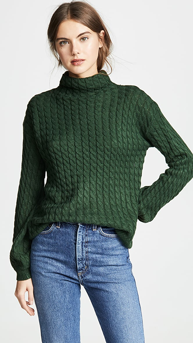 4a7267081 Line   Dot Juniper Cable Knit Sweater