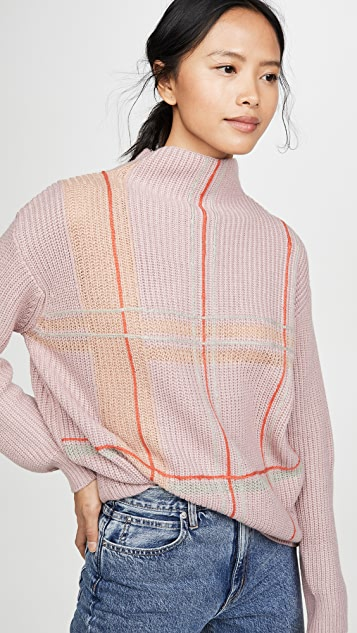 Violet Checkered Sweater by Line & Dot