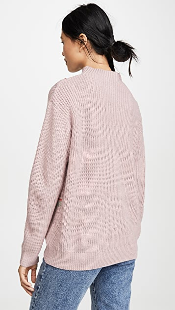 Line & Dot Violet Checkered Sweater