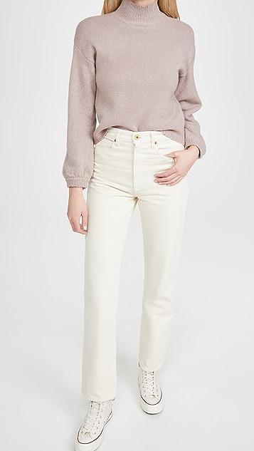 Line & Dot Julia Mock Neck Balloon Sleeve Sweater