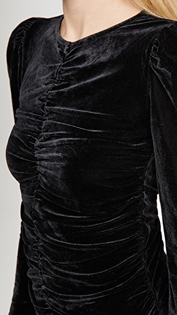 Line & Dot Kris Ruched Velvet Top