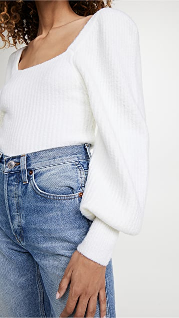 Line & Dot Kimberly Square Neck Ribbed Sweater