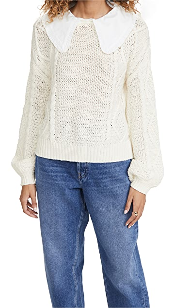 Line & Dot Dinah Collared Cable Sweater