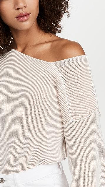 Line & Dot Favorite Off Shoulder Ribbed Sweater