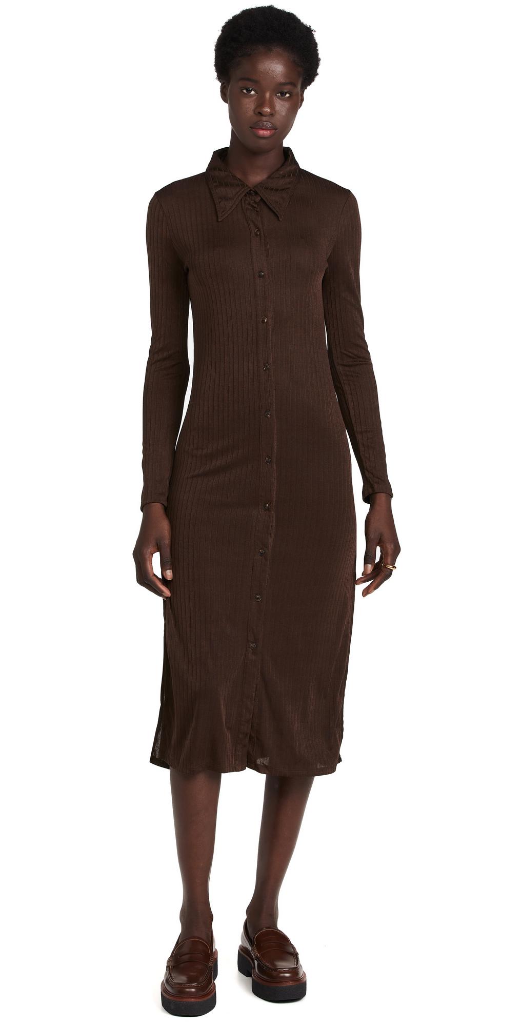 Camilla Knit Ribbed Shirt Dress