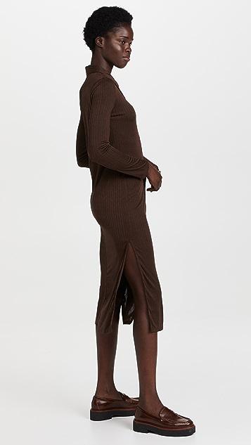 Line & Dot Camilla Knit Ribbed Shirt Dress