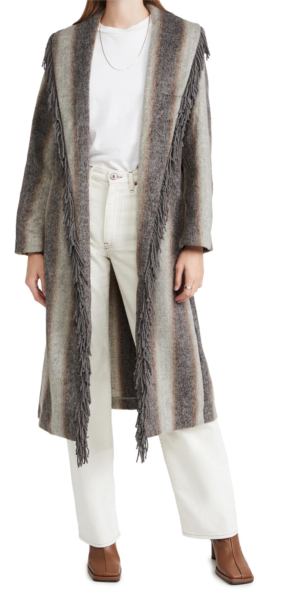 Linda Fringe Coat with Gradient Stripes