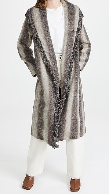 Line & Dot Linda Fringe Coat with Gradient Stripes