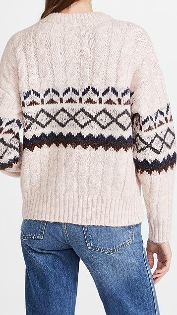 Line & Dot Noah Fair Isle Cable Knit Sweater