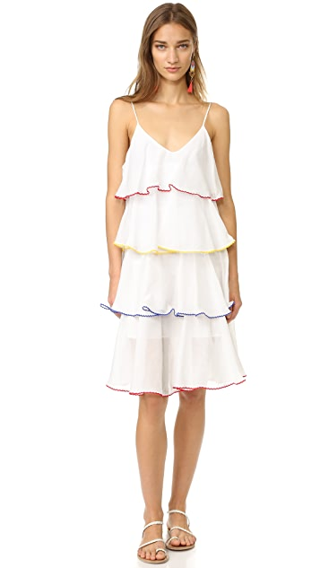 Lisa Marie Fernandez Midi Tier Flounce Dress