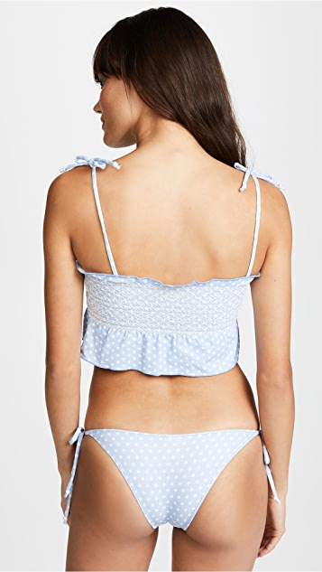Lisa Marie Fernandez Selena Cornflower Bikini in Polka Dot Crepe